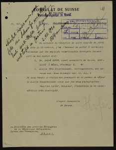 Notice from the Swiss consulate in Helsinki to the Ministry of Foreign Affairs concerning the opening of a consular agency in Tallinn. Photo: National Archives