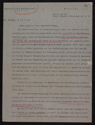 Letter from the Swiss envoy to Germany to the representative of Estonia in Berlin. Photo: National Archives