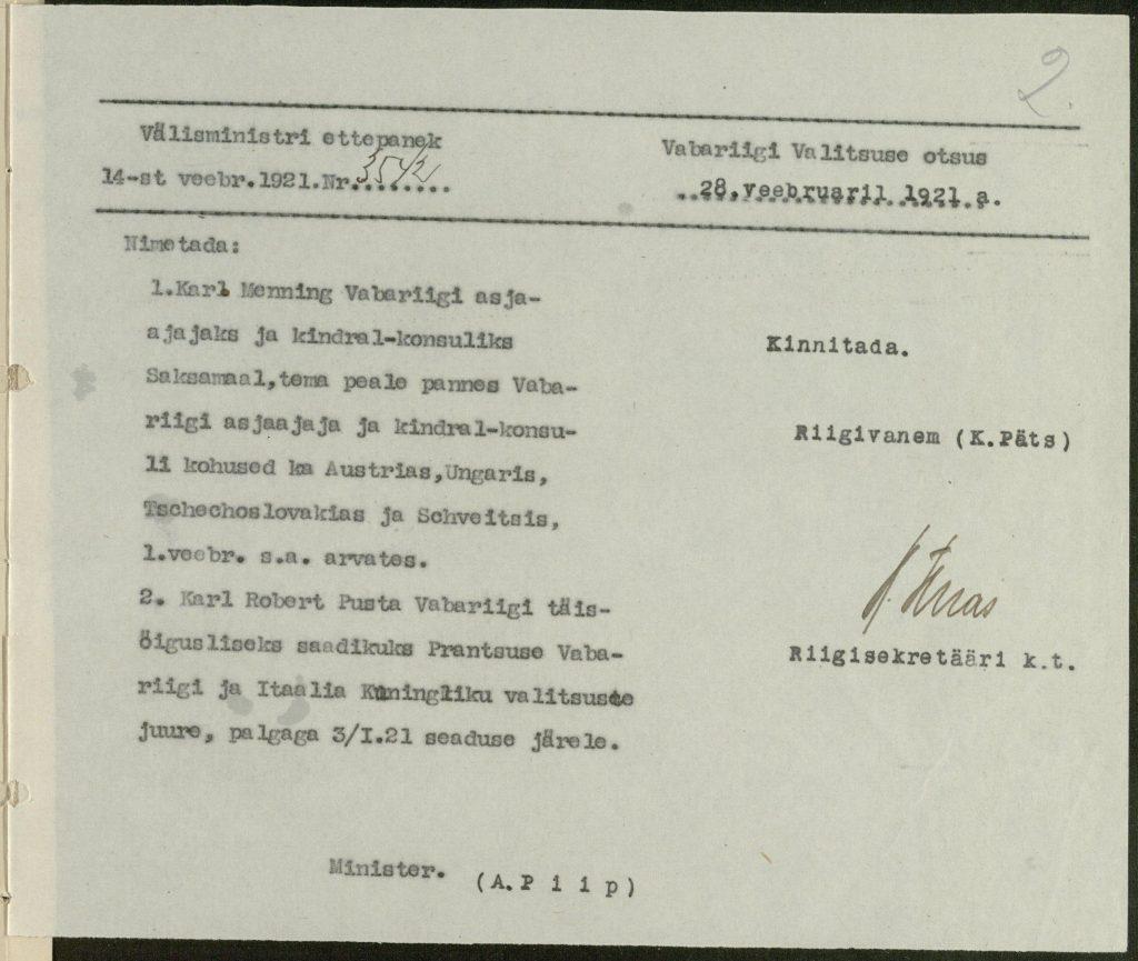 Vabariigi valitsuse otsus Karl Menningu nimetamisest Eesti esindajaks. Foto: Rahvusarhiiv
