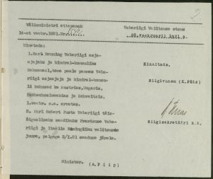Decision of the Government of the Republic on the appointment of Karl Menning as the representative of Estonia. Photo: National Archives
