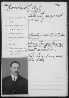 Diplomatic passport form of Karl Bosshardt. Photo: National Archives