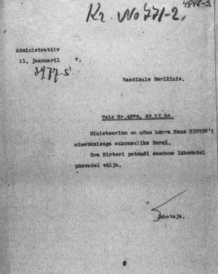 Approval of the Ministry of Foreign Affairs for the appointment of Hans Hirter as honorary consul. Photo: National Archives