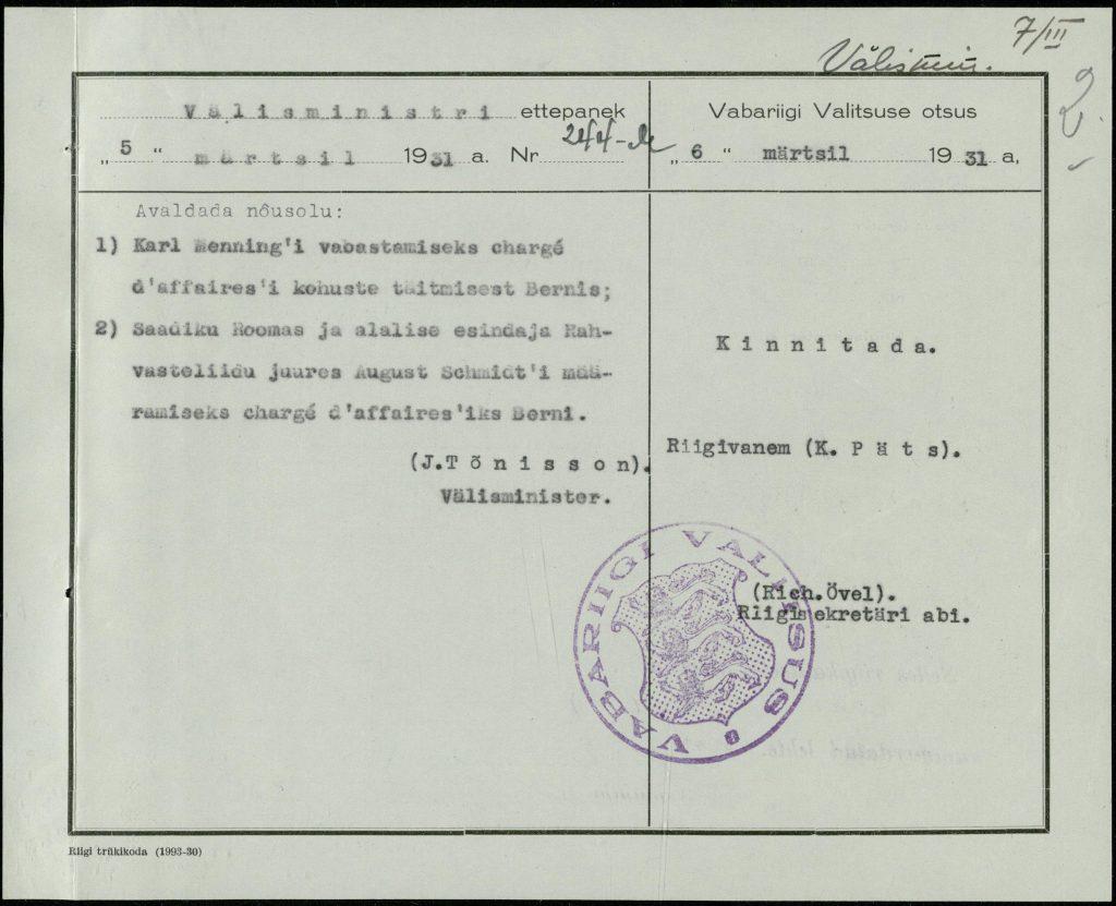 Vabariigi Valitsuse otsus August Schmidti määramisest asjuriks Berni. Foto: Rahvusarhiiv