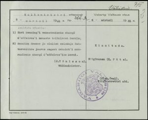 Decision of the Government of the Republic on the appointment of August Schmidt as the chargé d'affaires of Estonia. Photo: National Archives