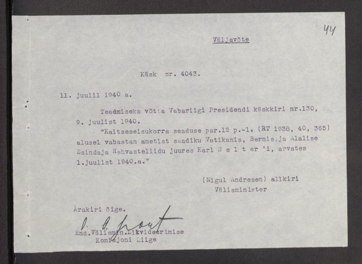 Directive on the dismissal of Karl Selter from office in Bern. Photo: National Archives