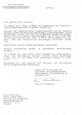 Letter from the Swiss Federal Department of Foreign Affairs to the Estonian Ministry of Foreign Affairs with a proposal to restore diplomatic relations. Photo: Archives of the Ministry of Foreign Affairs