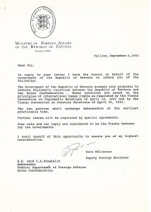 Response from the Estonian Ministry of Foreign Affairs accepting the proposal of the Swiss Federal Department of Foreign Affairs to restore diplomatic relations. Photo: Archives of the Ministry of Foreign Affairs