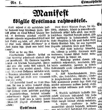 Manifesto to the Peoples of Estonia, published in Teataja 25 February 1918