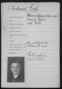 Fragebogen zum Diplomatenpass von Erich Andresen Foto: Estnisches Nationalarchiv (ERA.957.16.2a)