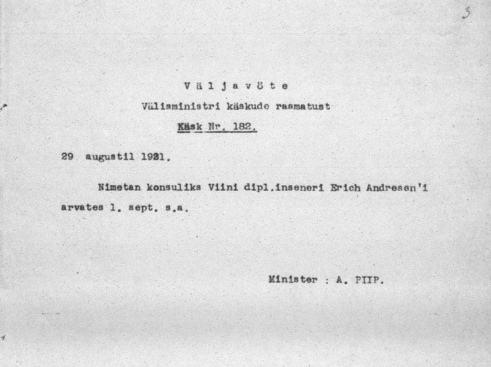 Välisministri otsus Erich Andreseni nimetamisest aukonsuliks. Foto: Rahvusarhiiv (ERA.957.3.415)