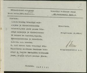 Entscheidung der Regierung, Karl Menning zum Geschäftsträger zu ernennen. Foto: Estnisches Nationalarchiv (ERA.31.3.13872)