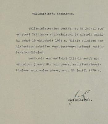 Välisministri teadaanne konsulaarleppe ratifitseerimisest. Foto: Rahvusarhiiv (ERA.957.5.296)