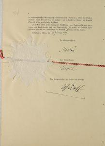 Kaubandusleppe Austria-poolse ratifitseerimiskirja viimane lehekülg. Foto: Rahvusarhiiv (ERA.957.5.490)