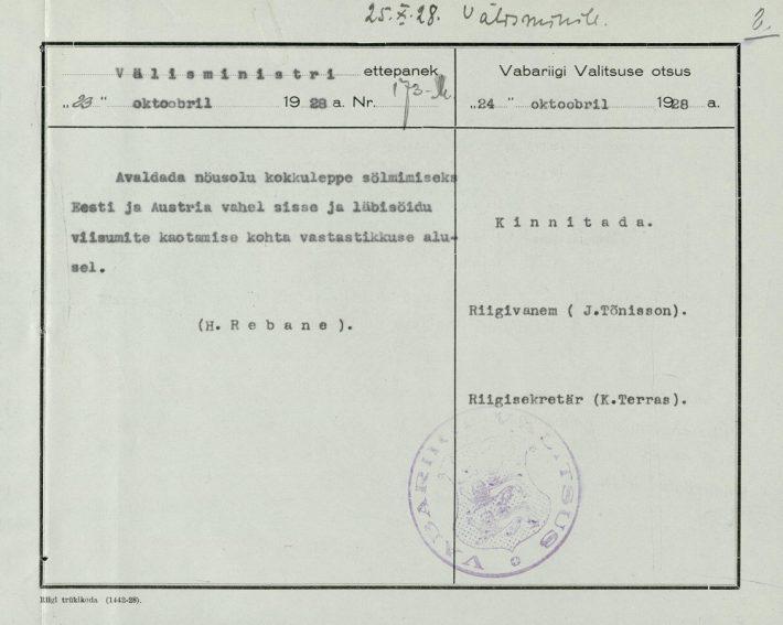 Die Entscheidung der Regierung der Republik Estland, Visa mit Österreich abzuschaffen. Foto: Estnisches Nationalarchiv (ERA.31.3.5551)