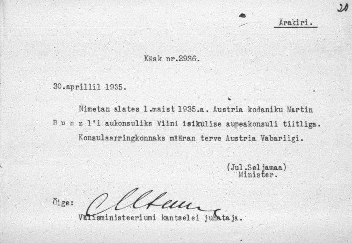 Välisministri kässkiri Martin Bunzli nimetamisest aupeakonsuliks. Foto: Rahvusarhiiv (ERA.957.3.416)
