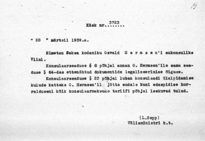 Välisministri käskkiri Osvald Hermseni määramisest aukonsuliks. Foto: Rahvusarhiiv (ERA. 957.3.651)