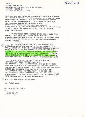 Brief des Bundesministers für Auswärtige Angelegenheiten Alois Mock an Außenminister Lennart Meri mit estnischer Übersetzung. Foto: Archiv des Außenministeriums