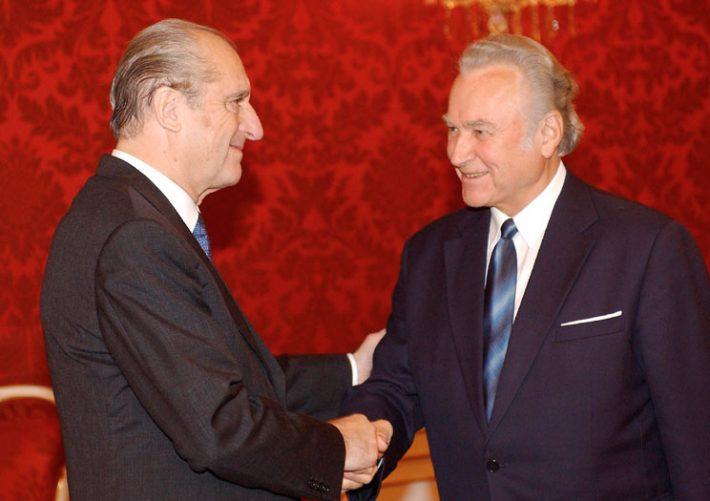 Präsident Rüütel trifft Präsident Klestil. Foto: Kaimbacher